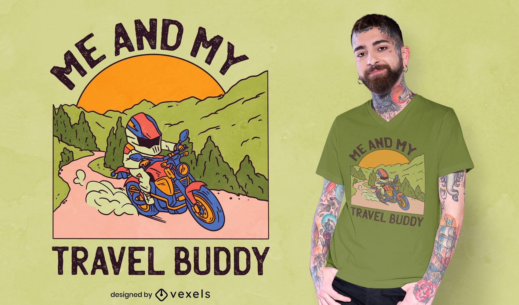 Motorcycle mountain travel t-shirt design