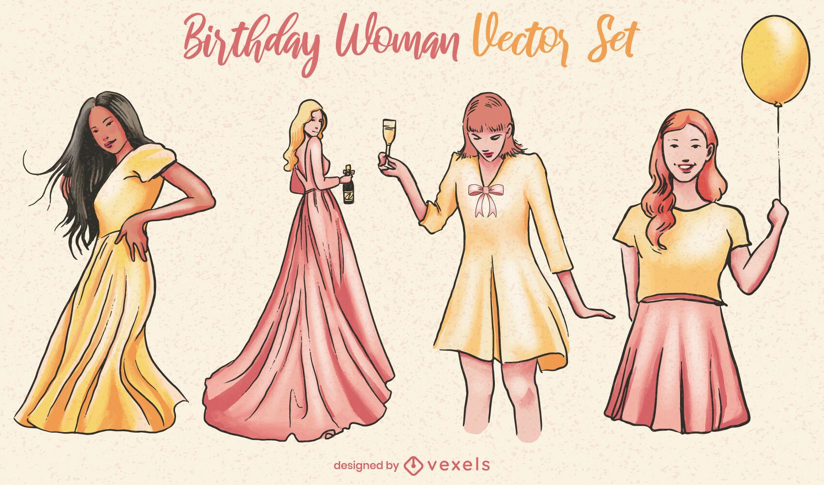 Ausgefallenes Frauengeburtstags-Party-Set