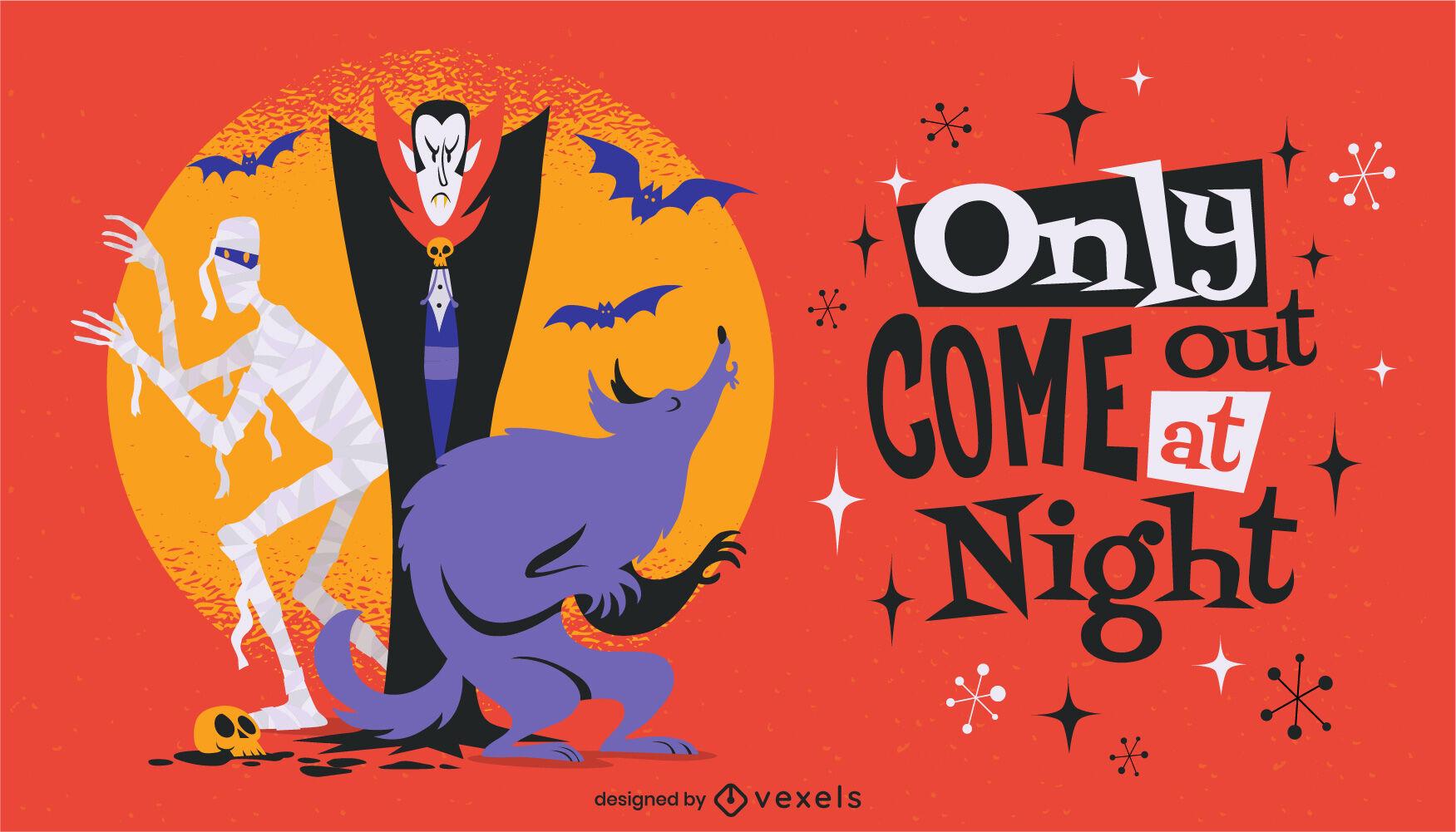 Personajes de monstruos de dibujos animados de Halloween