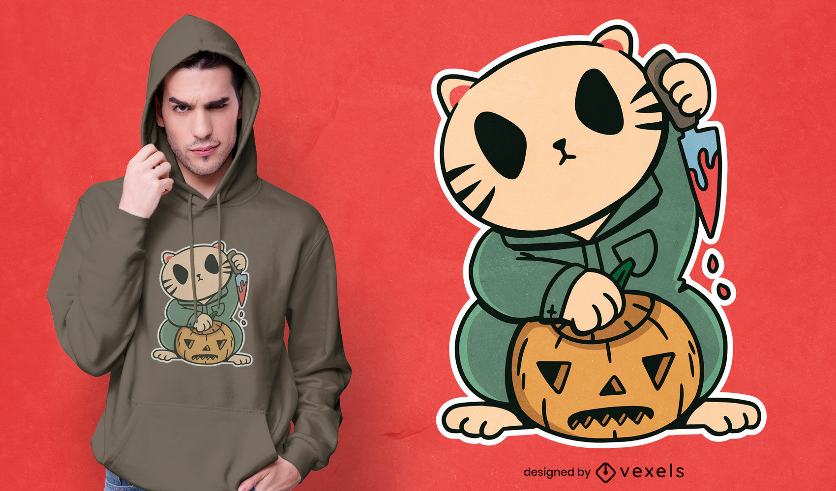 Halloween-Katzencharakter-T-Shirt-Design
