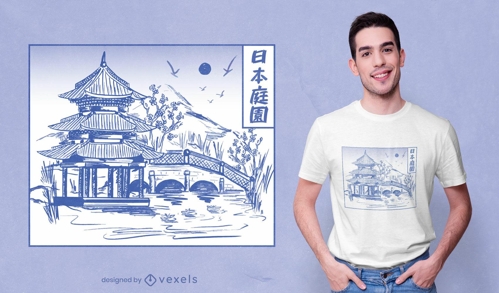 Diseño de camiseta de arte de línea de jardín japonés.