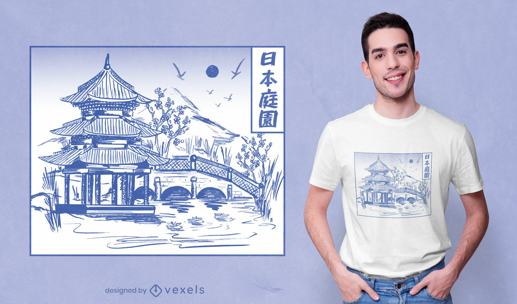 Japanese garden line art t-shirt design