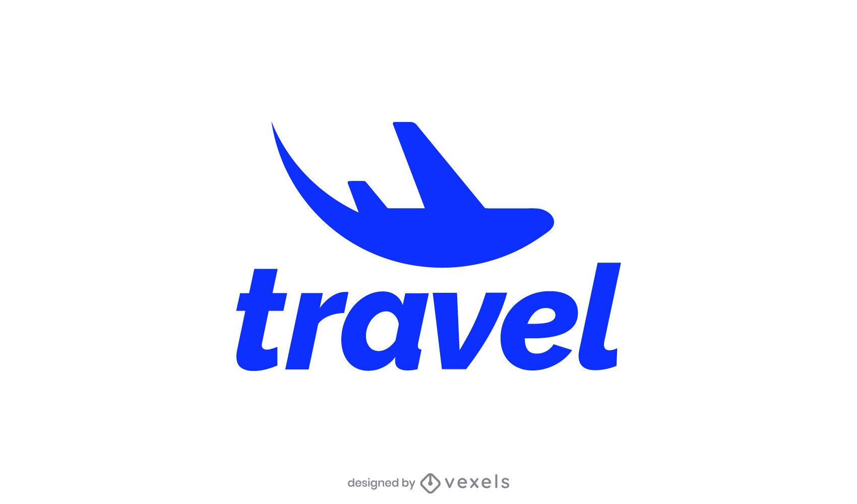 Diseño de logotipo de silueta de viaje de avión