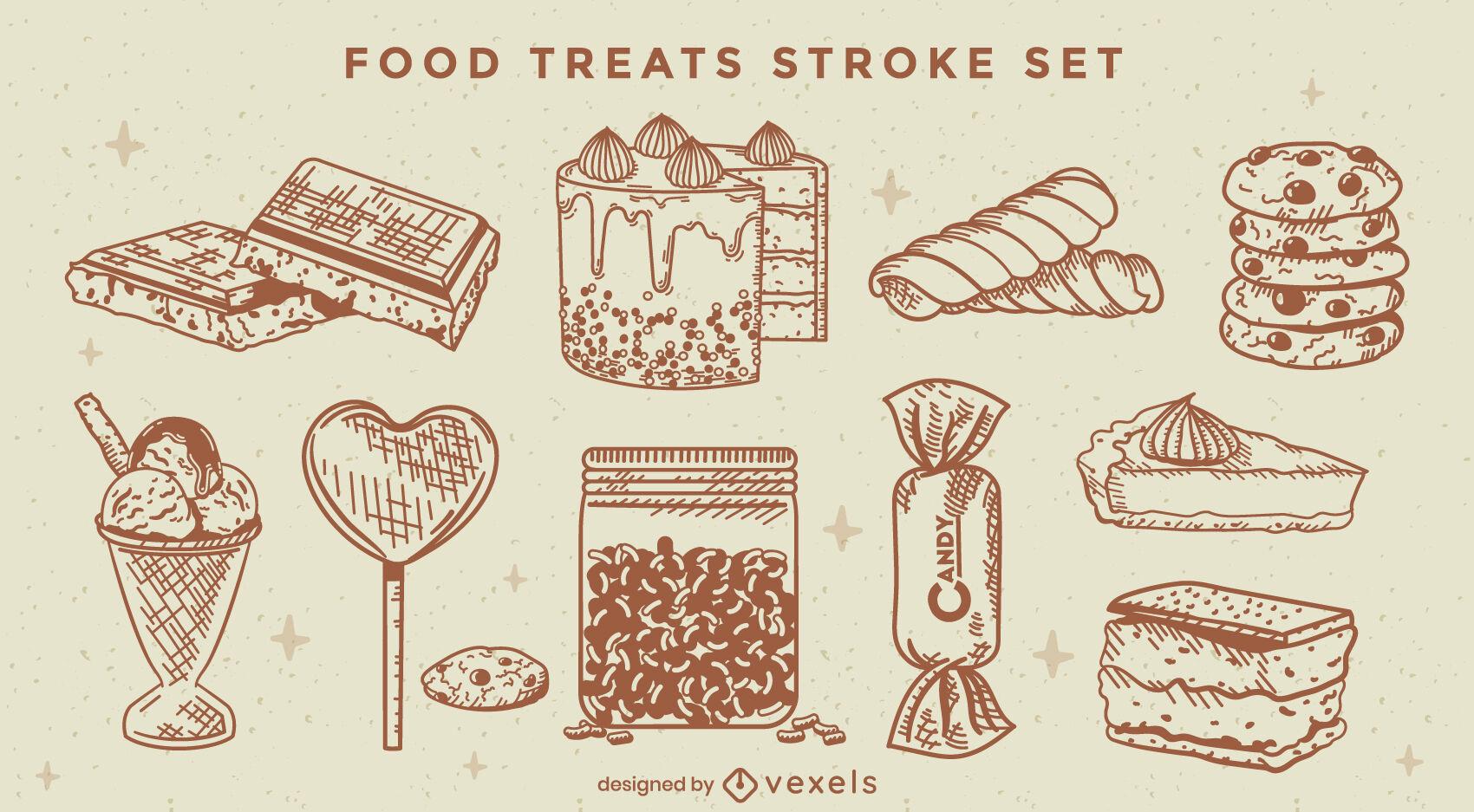 Sobremesa doce comida desenhada à mão saboroso conjunto