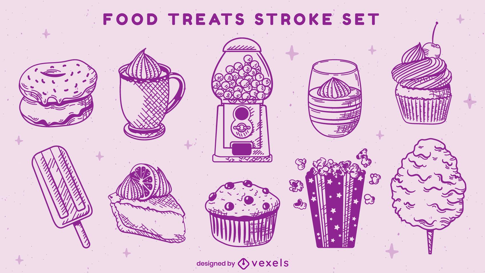 Dessert sweet food stroke set