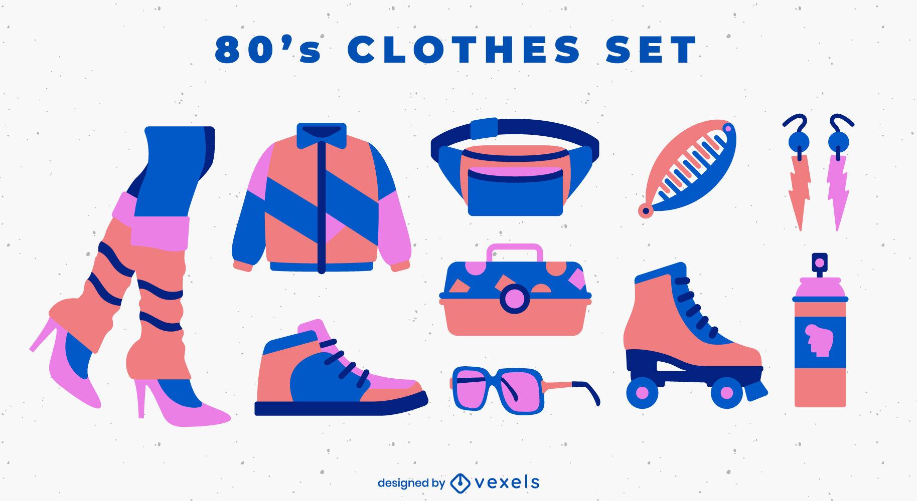 Conjunto de complementos y moda retro 80's