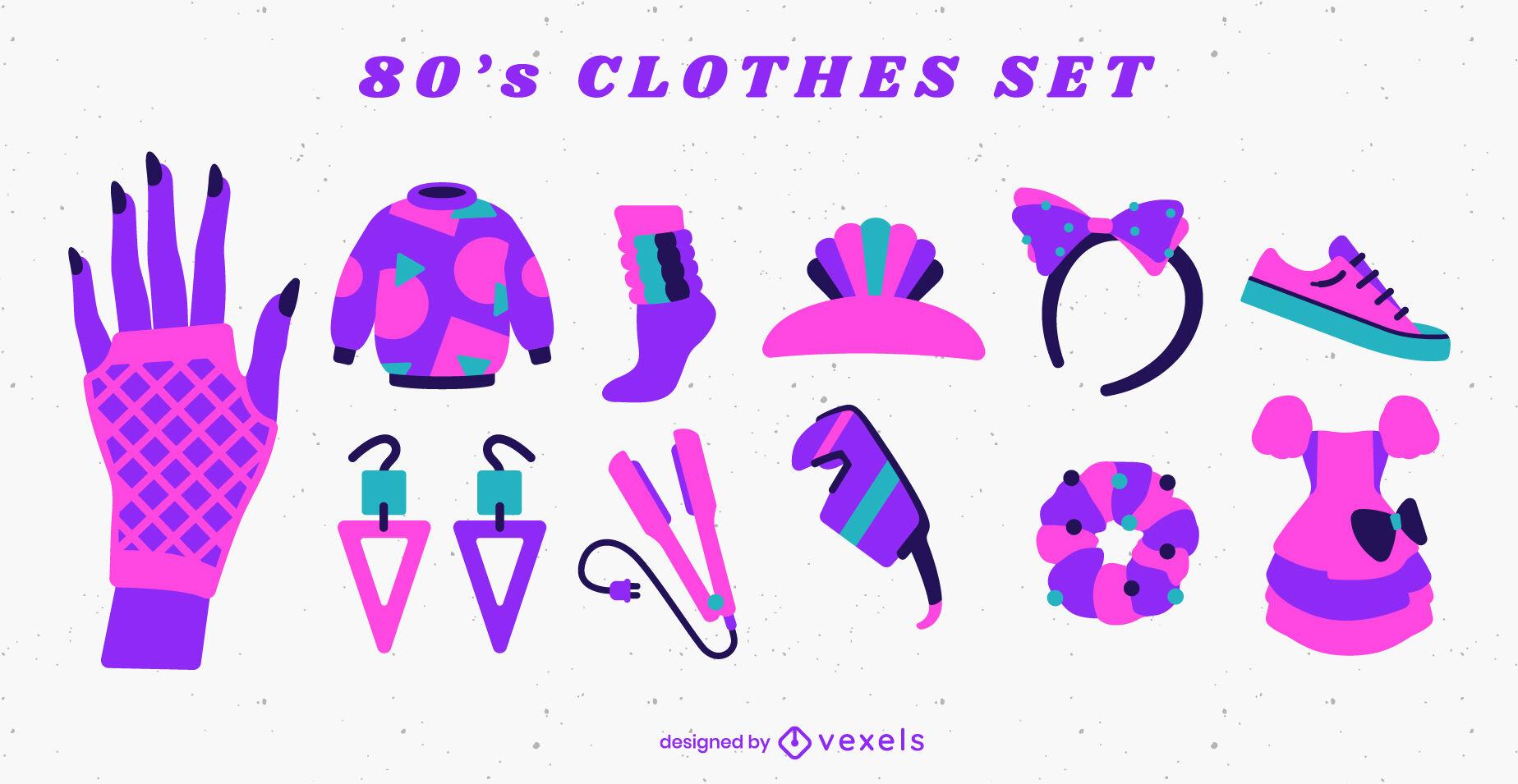 80s clothing set flat