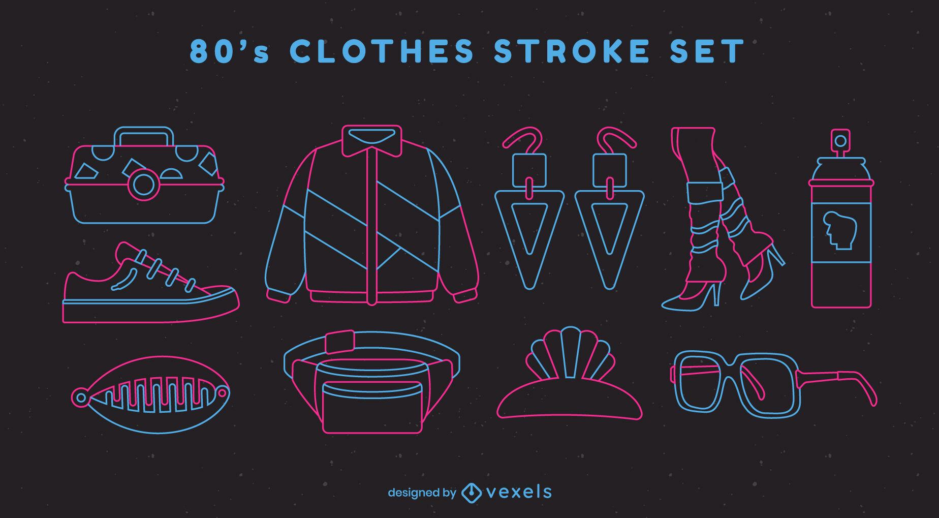 Conjunto de trazos de ropa de los 80