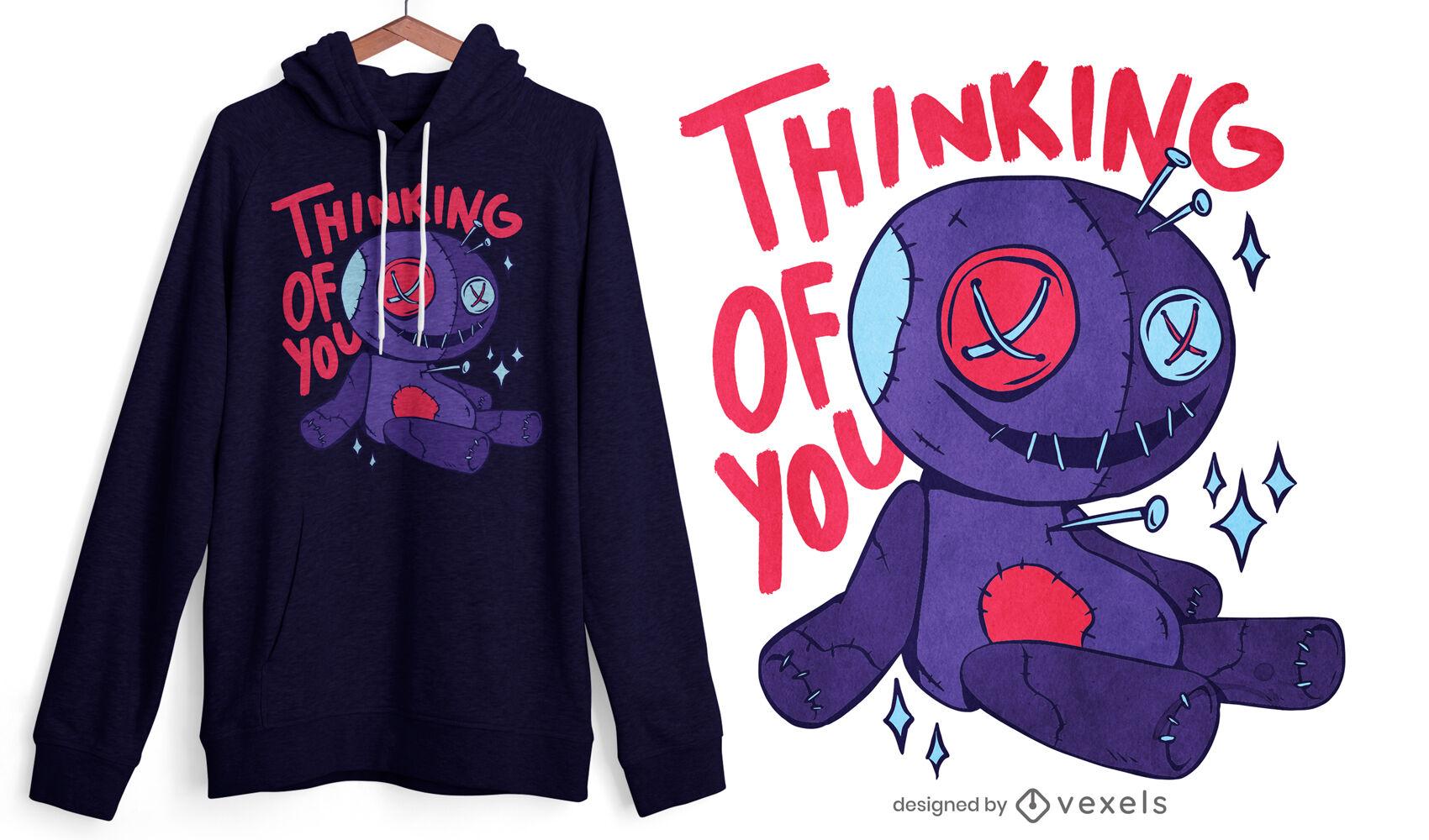 Design engraçado de t-shirt com citação de boneca vodu