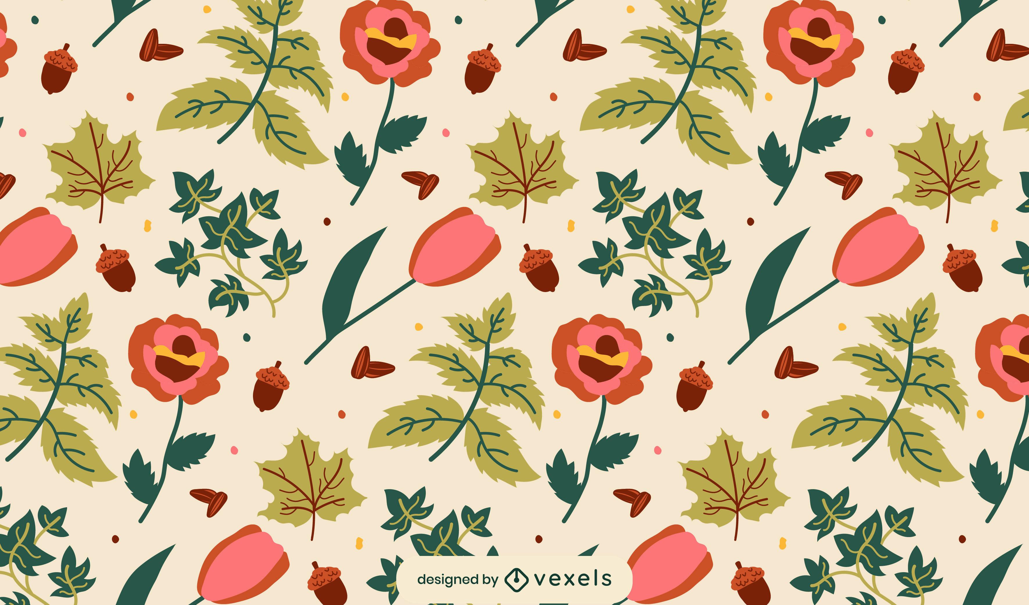 Patrón plano de flores y hojas
