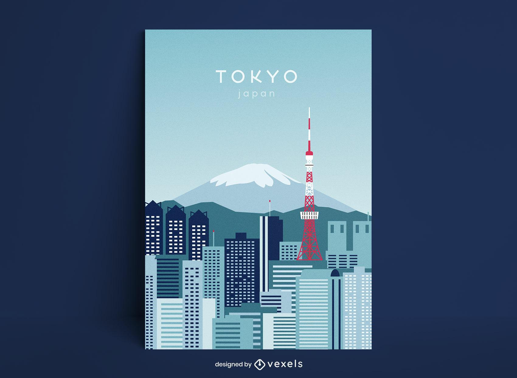Modelo de pôster japonês da cidade de Tóquio