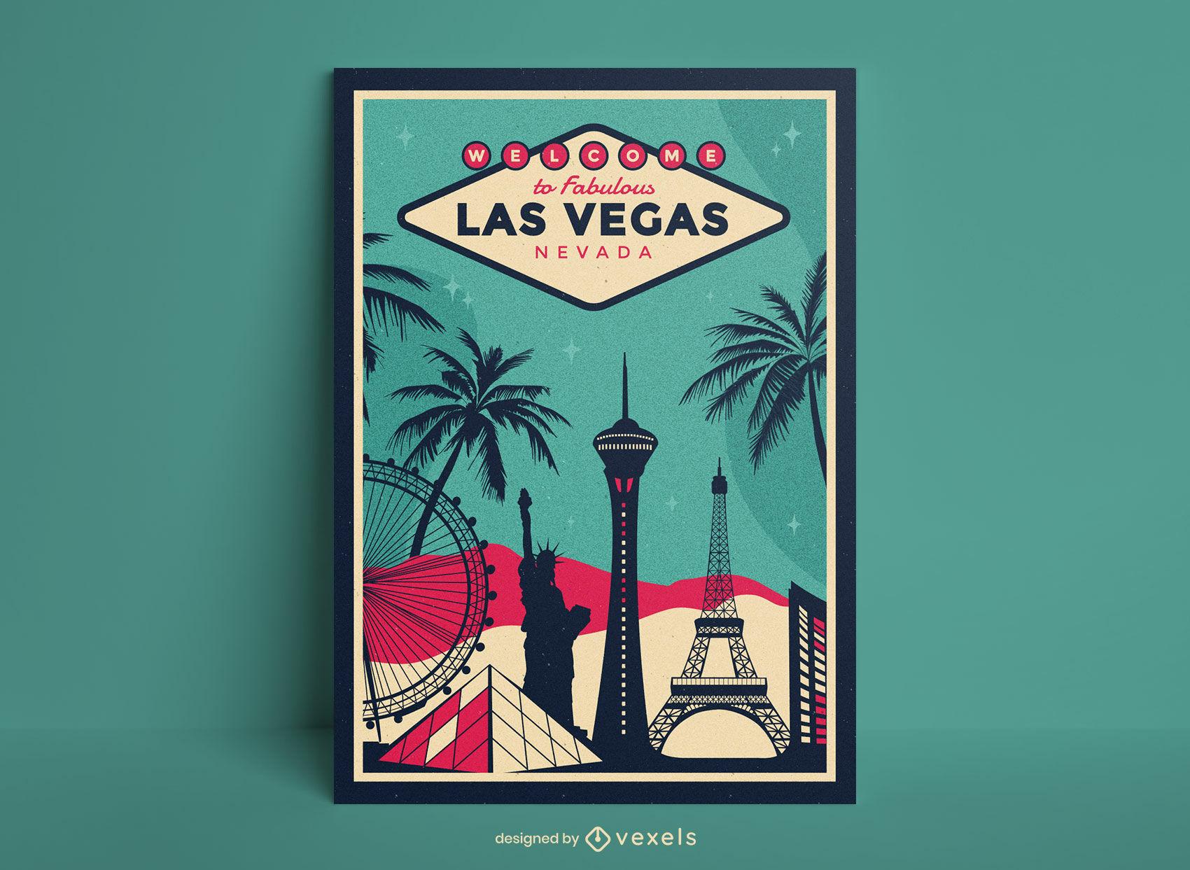 Diseño de carteles de viajes de la ciudad de las vegas.
