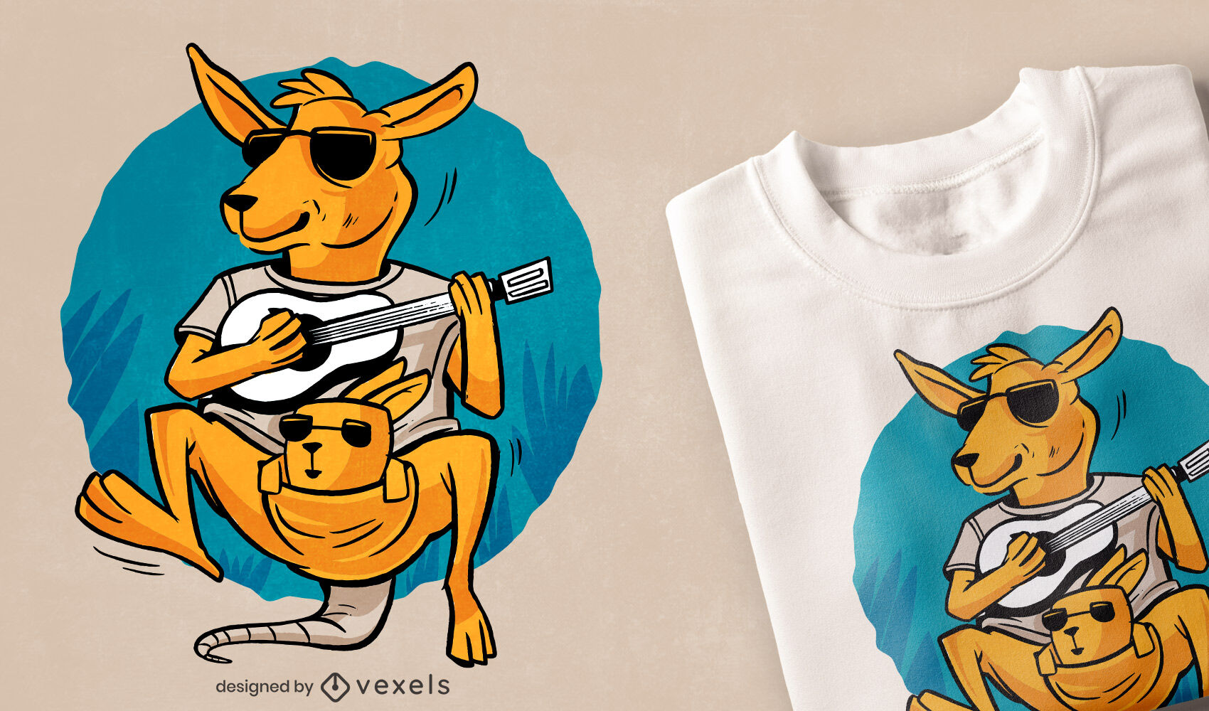 Känguru mit Baby-Gitarren-T-Shirt-Design