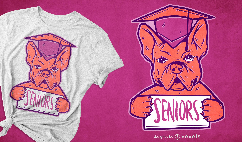 Diseño de camiseta de bulldog graduado.