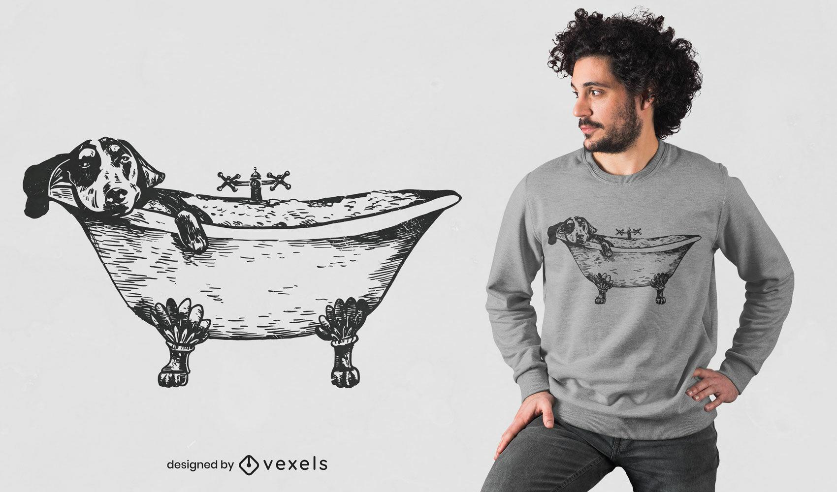 Diseño de camiseta de bañera de perro Dachshund.