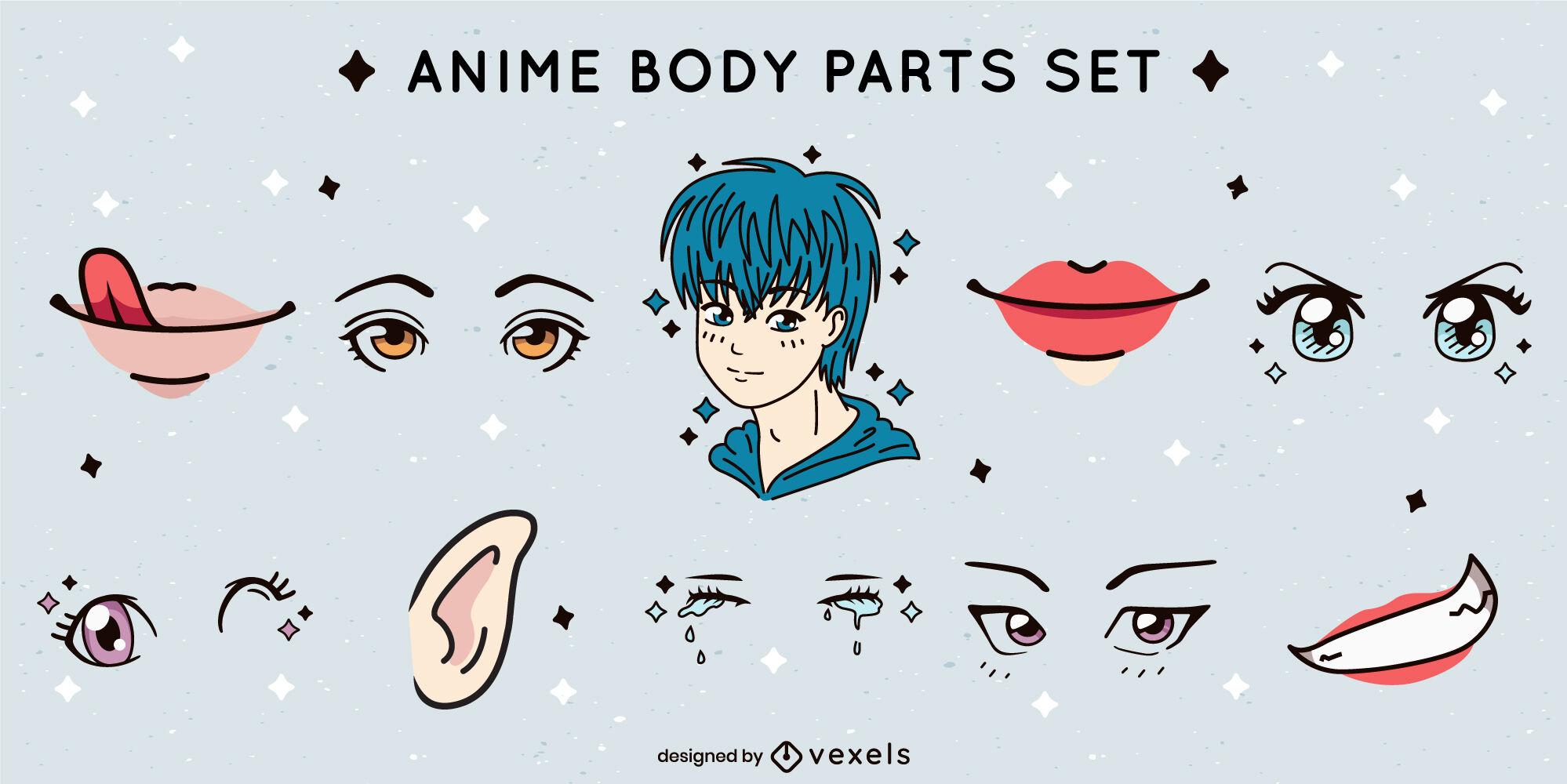 Conjunto de peças de rosto de anime kawaii