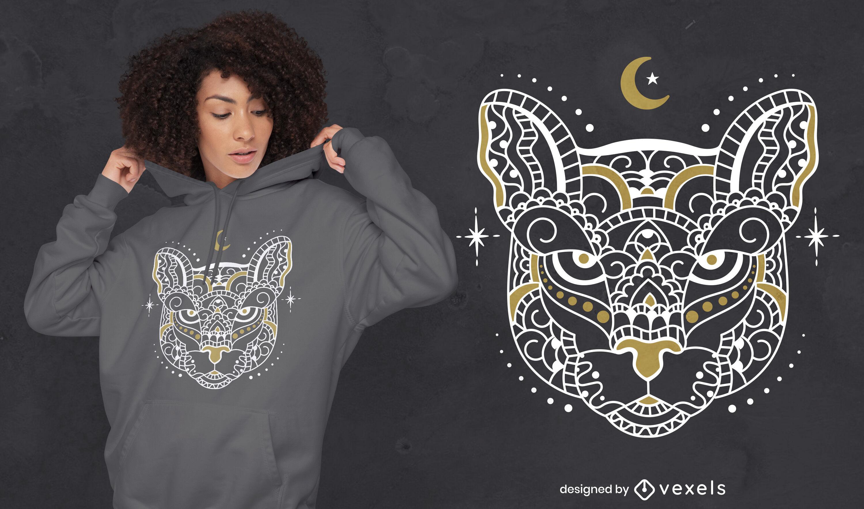 Design de t-shirt de animal selvagem de tigre mandala
