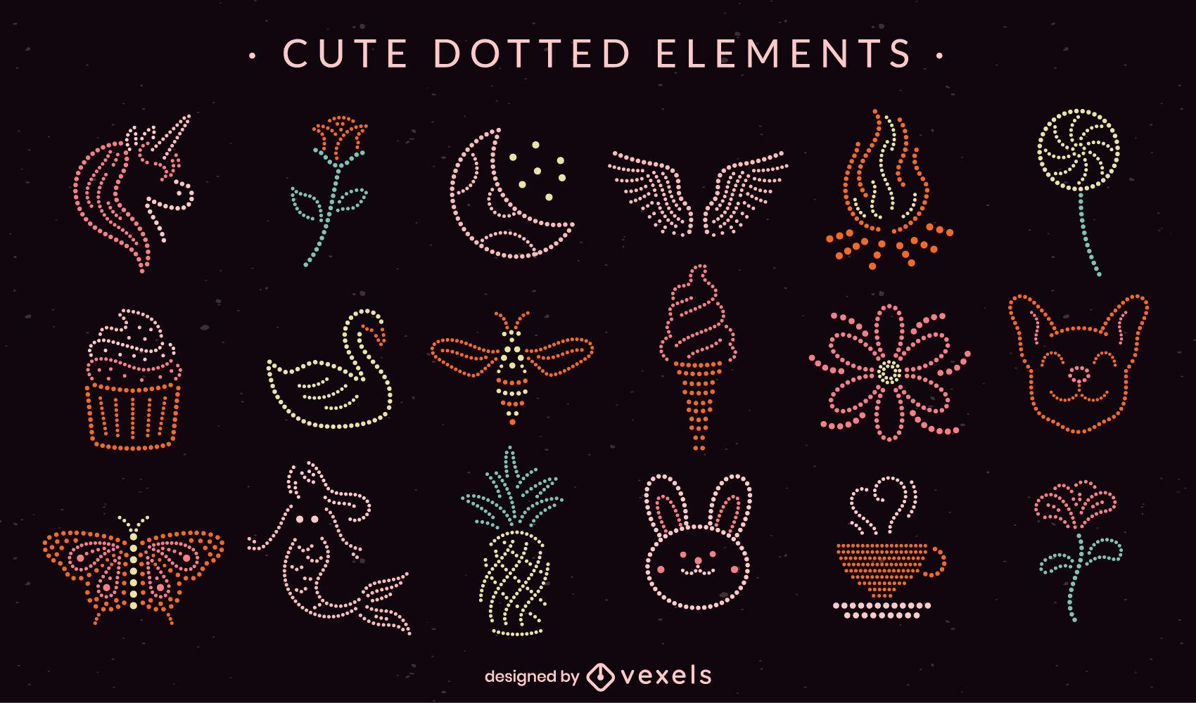 Einfache gepunktete süße Elemente