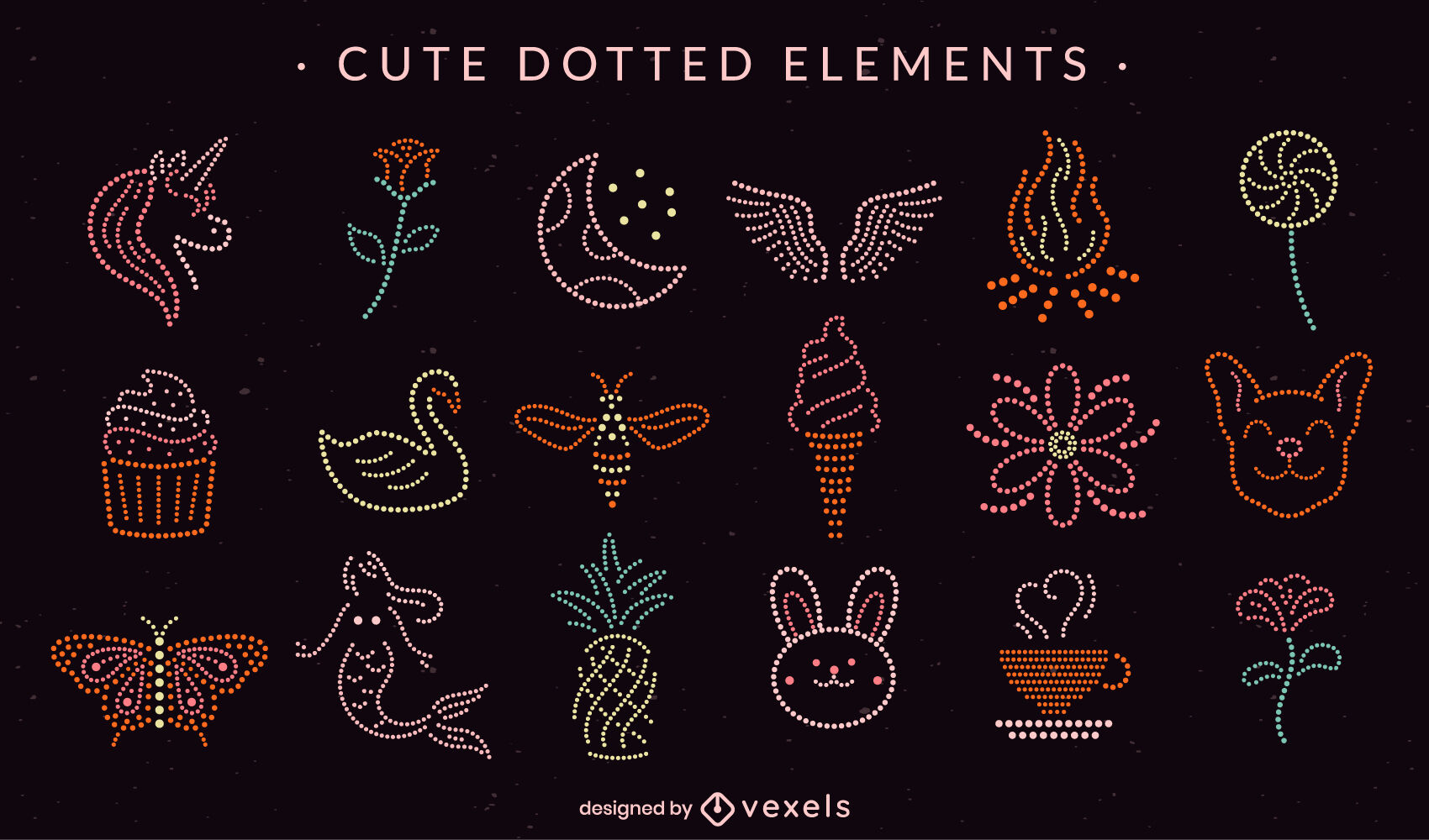 Elementos fofos pontilhados simples
