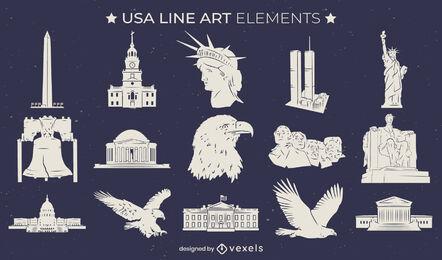 Conjunto de elementos de arte de línea cultural de estados unidos
