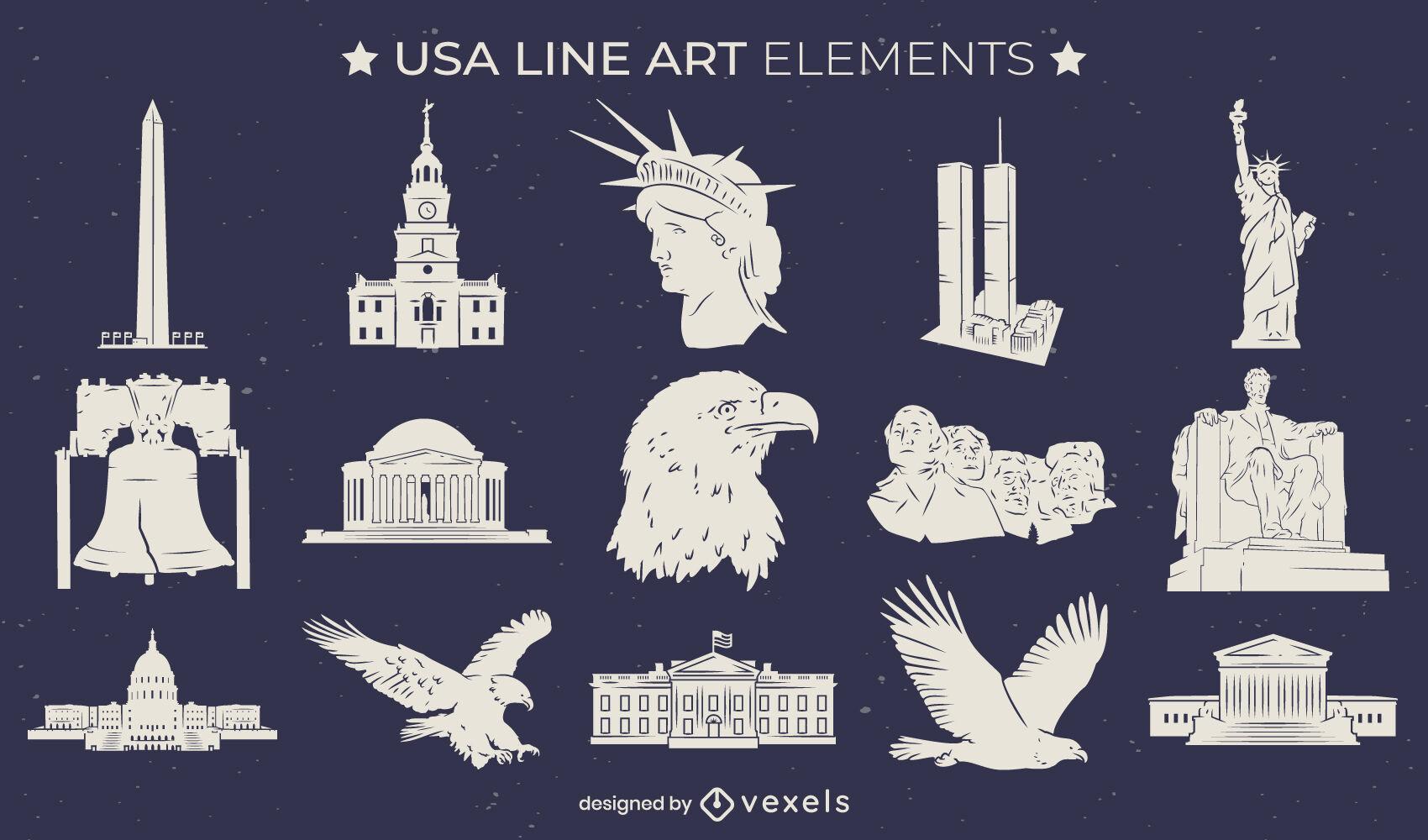 Conjunto de elementos de arte de linha cultural dos Estados Unidos