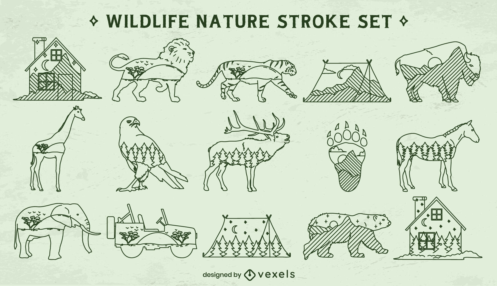 Elementos de trazo de doble exposición de vida silvestre.