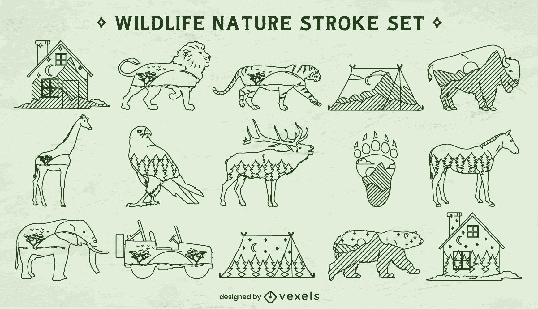 Wildlife double exposure stroke elements