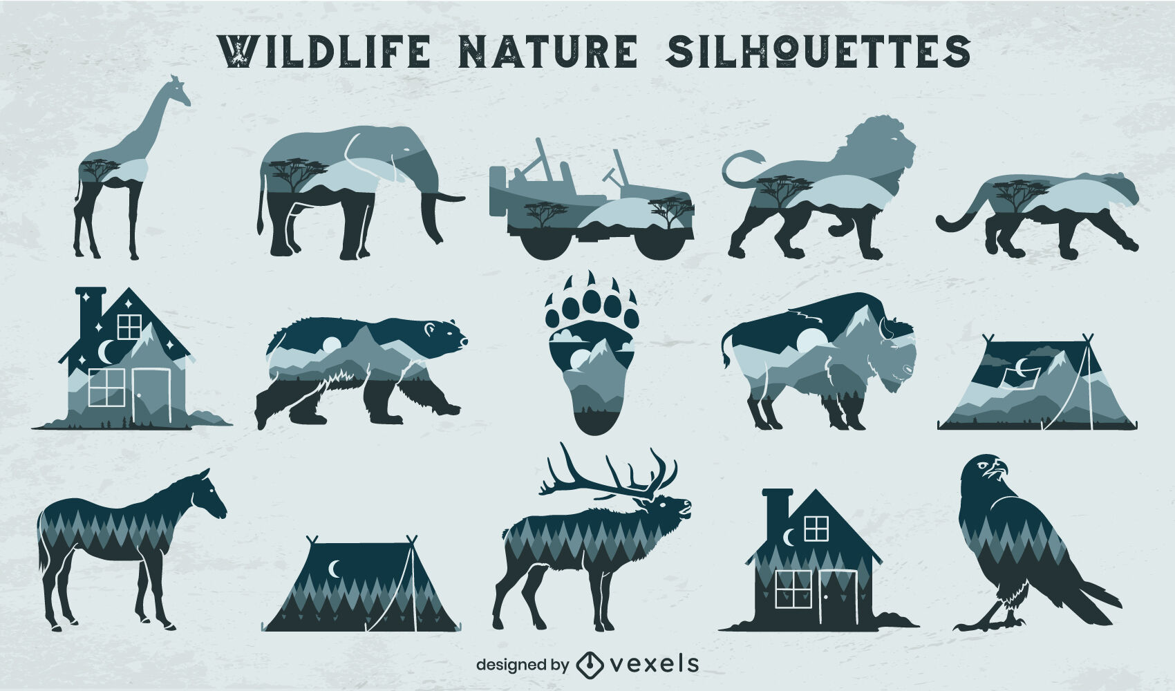 Wildlife double exposure monochromatic elements