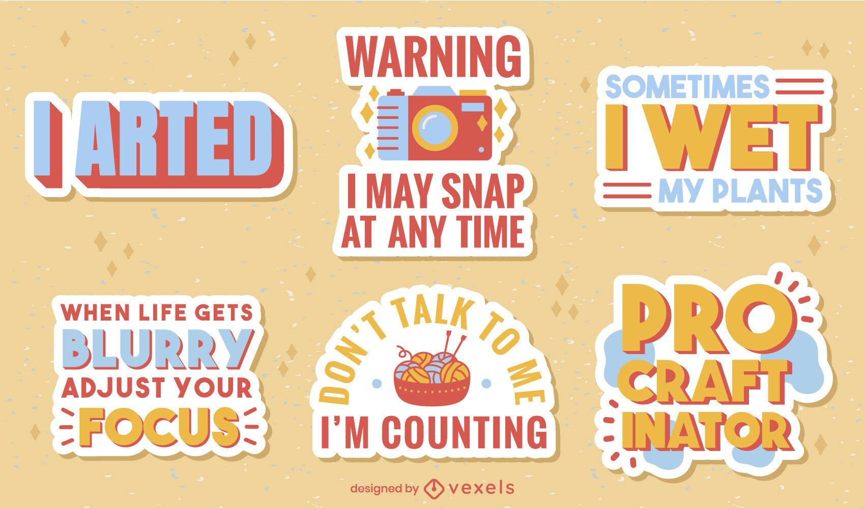 Funny puns hobby quotes badge flat set