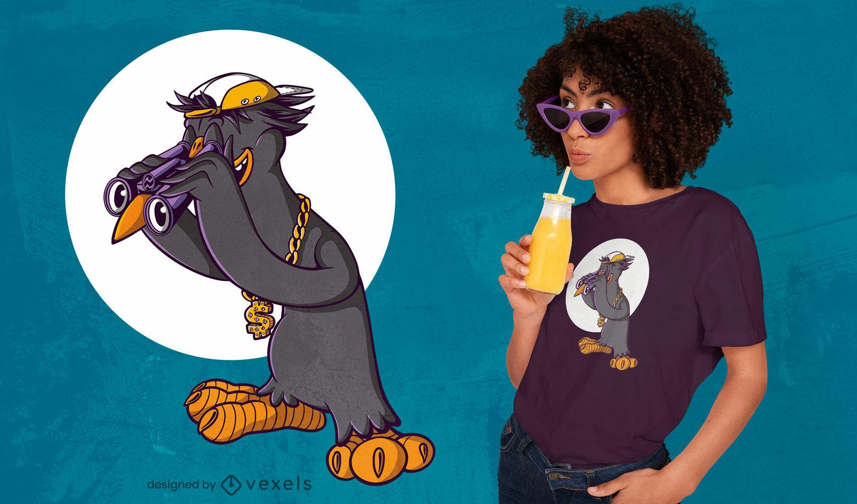 Diseño de camiseta de observación de aves de hip hop.