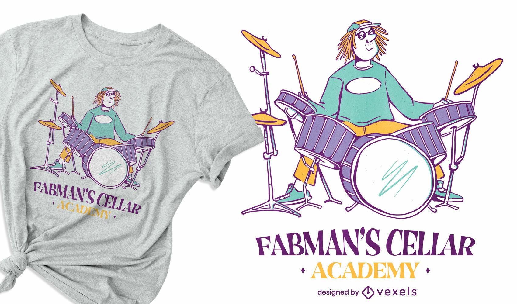 Diseño de camiseta de músico de instrumento de tambor.