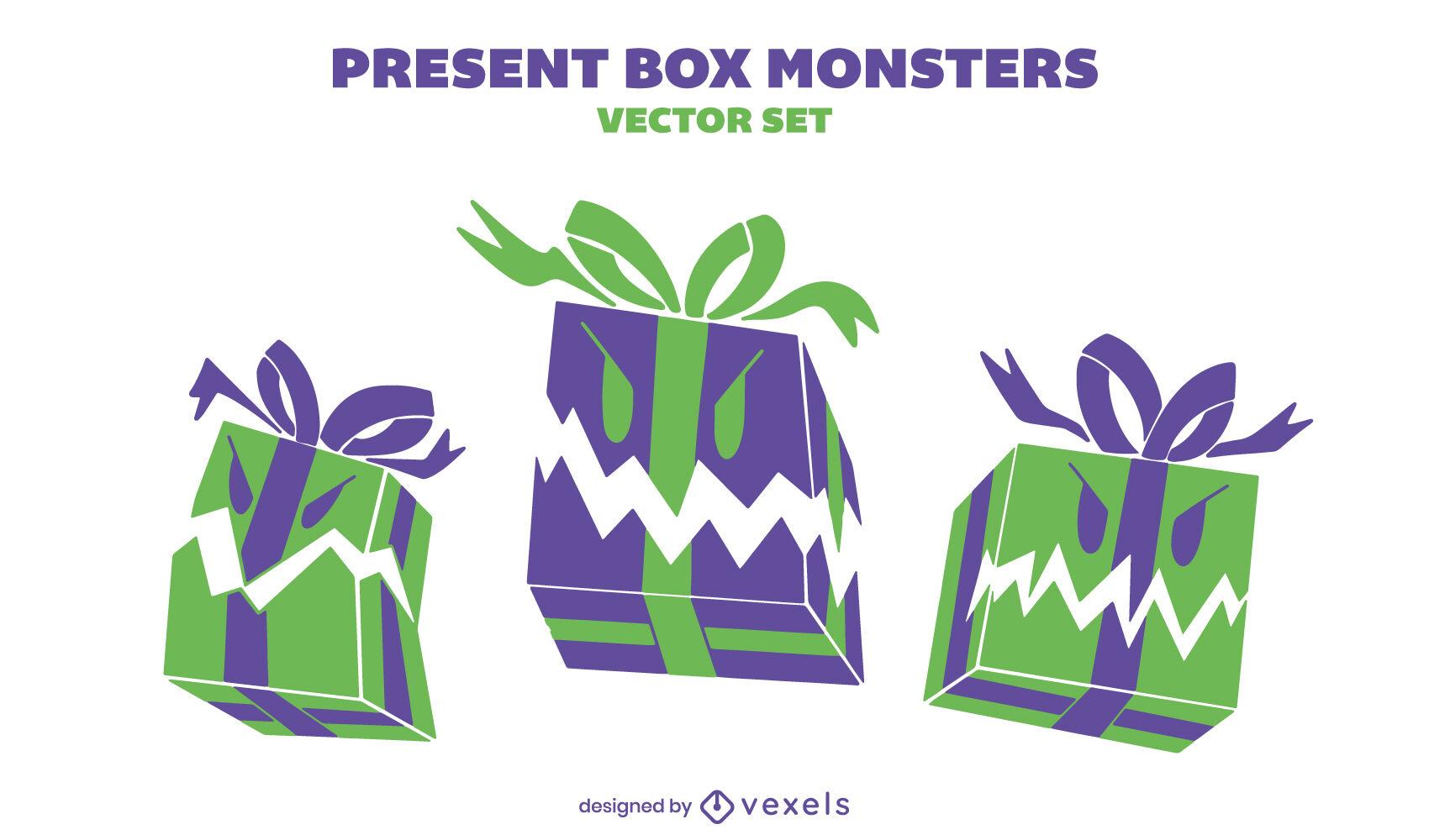 Monstruo de caja de regalo enojado presenta tr?o set