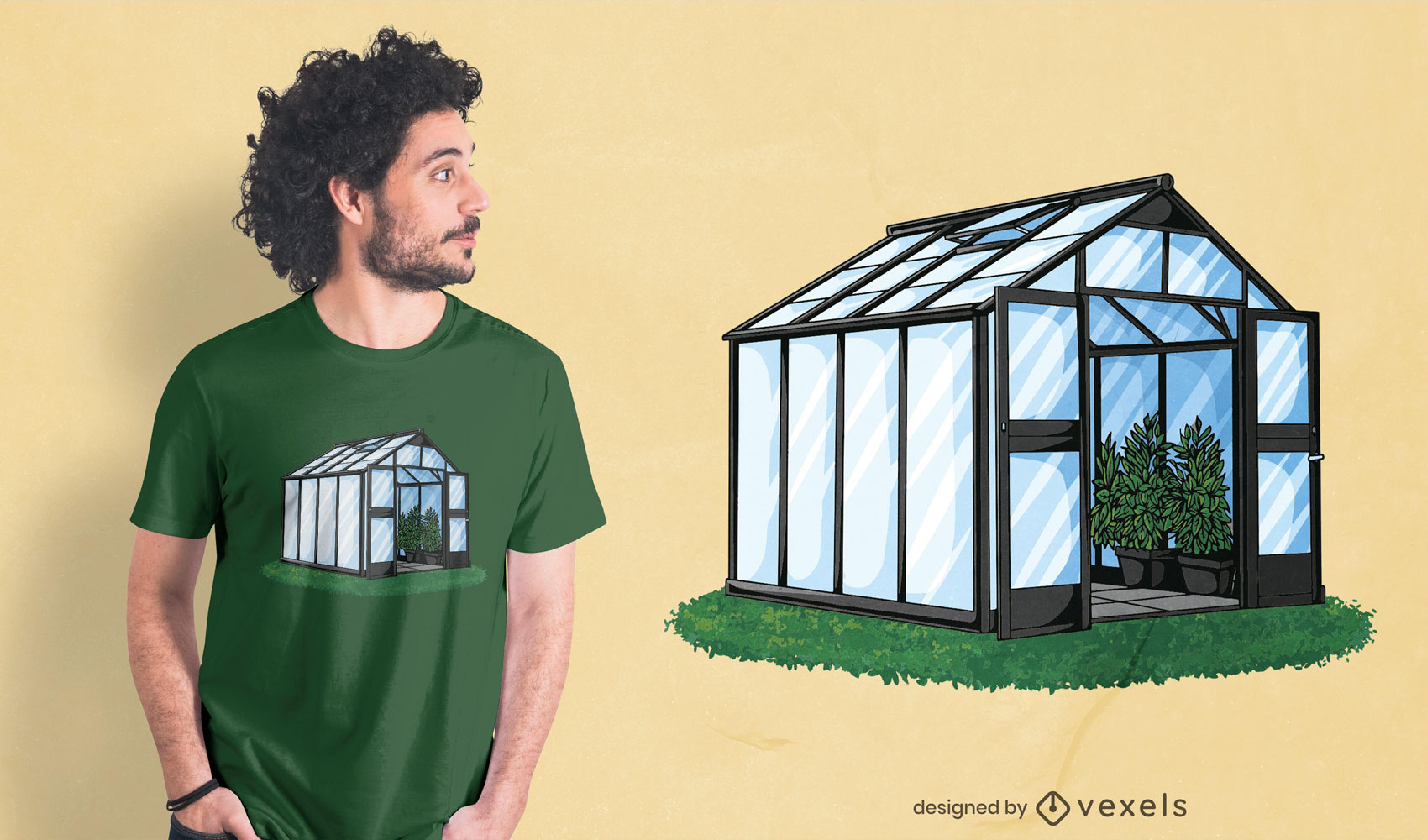 Dise?o de camiseta de naturaleza de edificio de invernadero.