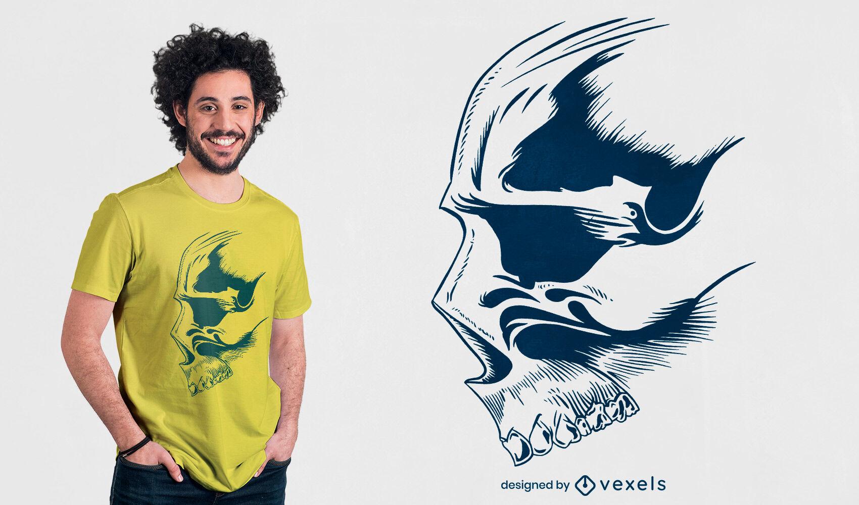 Diseño de camiseta dibujada a mano con cara de calavera