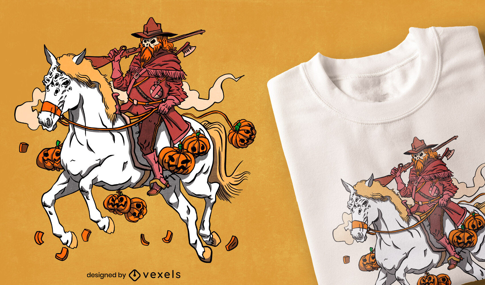 Design de camiseta do caçador de abóboras de Halloween