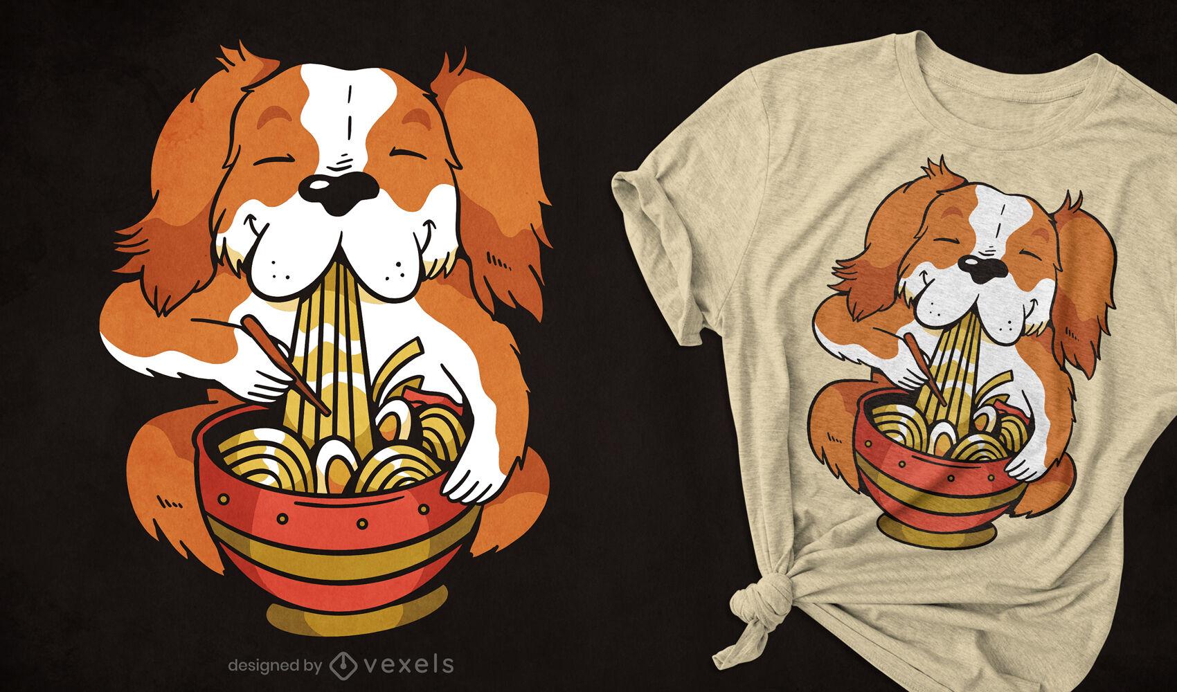 Dog eating ramen noodles t-shirt deisgn