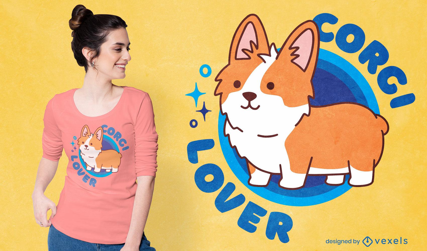Design fofo de t-shirt para amantes de corgi