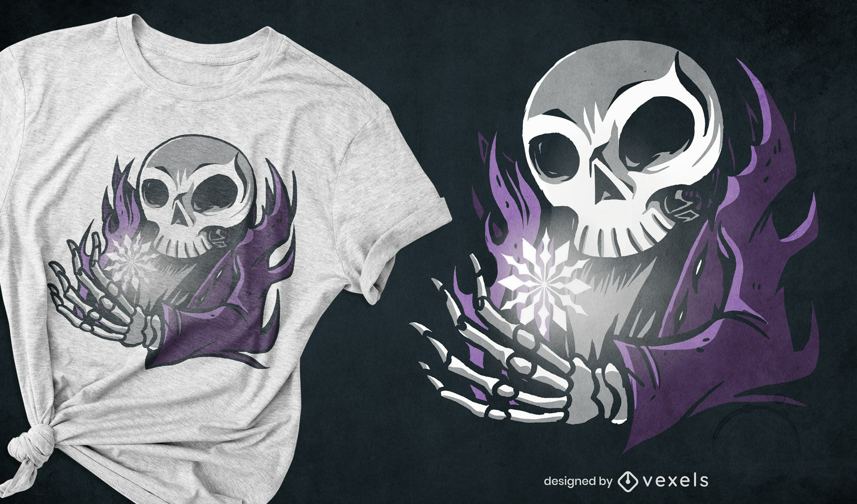 Dise?o de camiseta de esqueleto y copo de nieve.