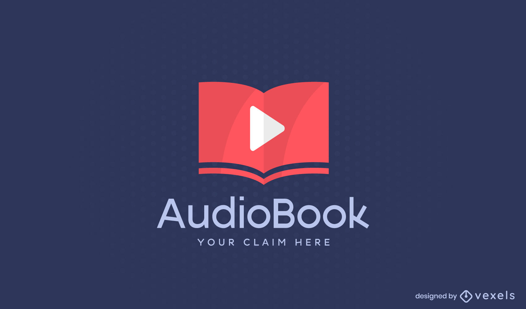 Play semi flat symbol in book logo