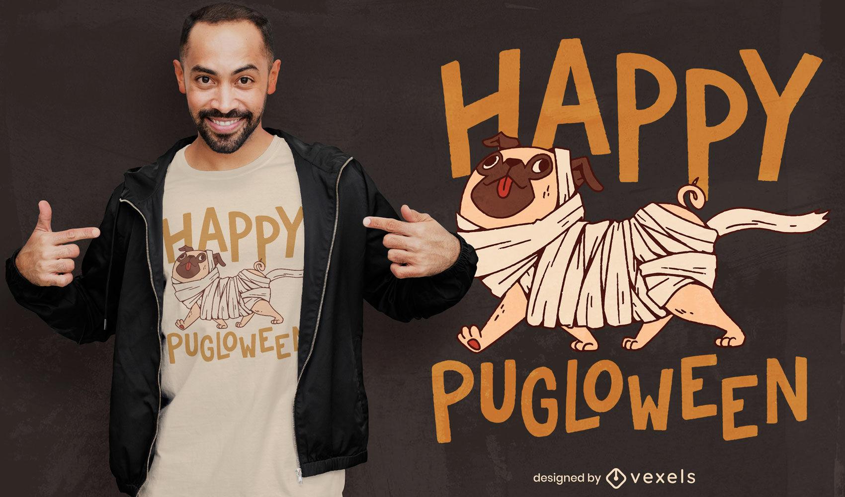 Diseño de camiseta de dibujos animados de perro de momia de Halloween