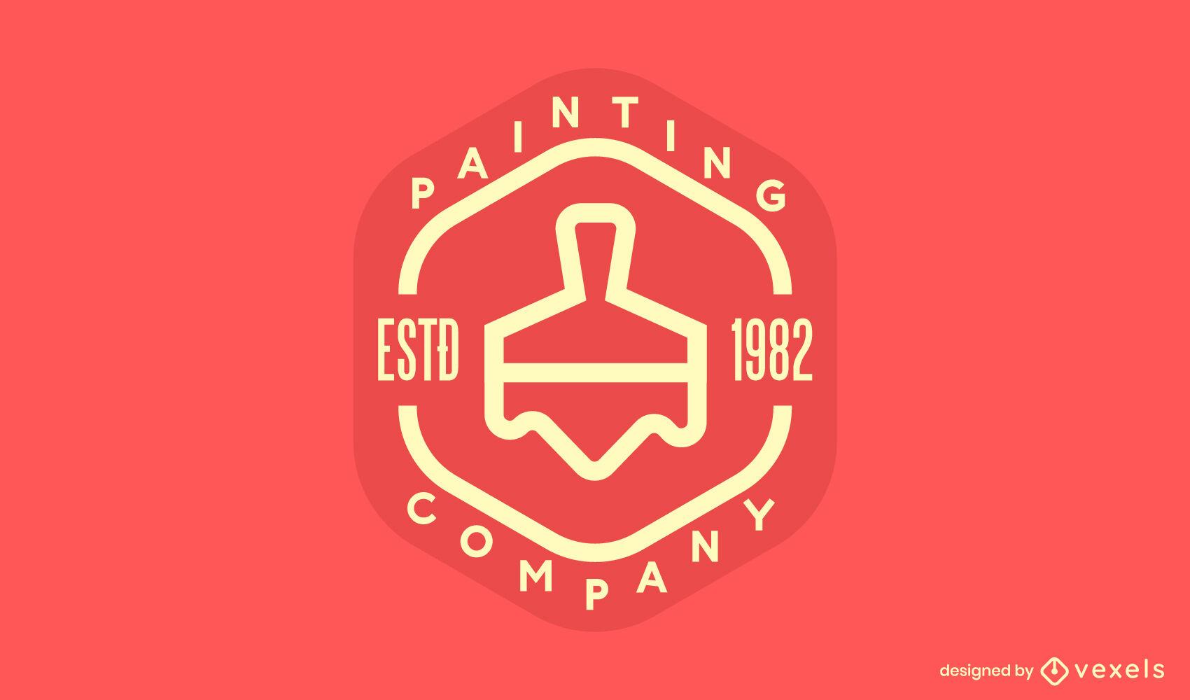 Painting brush stroke logo template