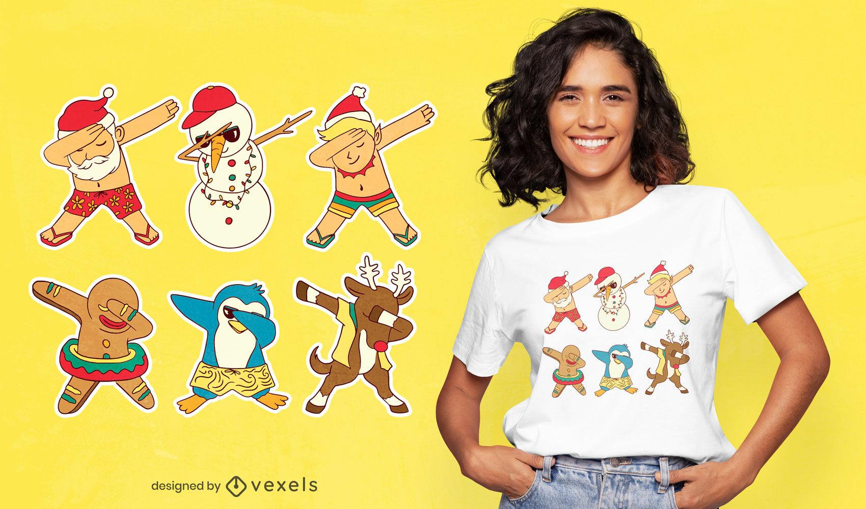 Personajes navideños dabbing diseño de camiseta.