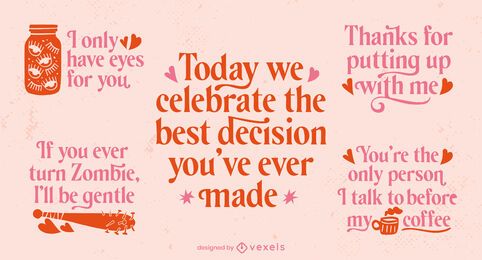 Valentines day badge quote lettering set