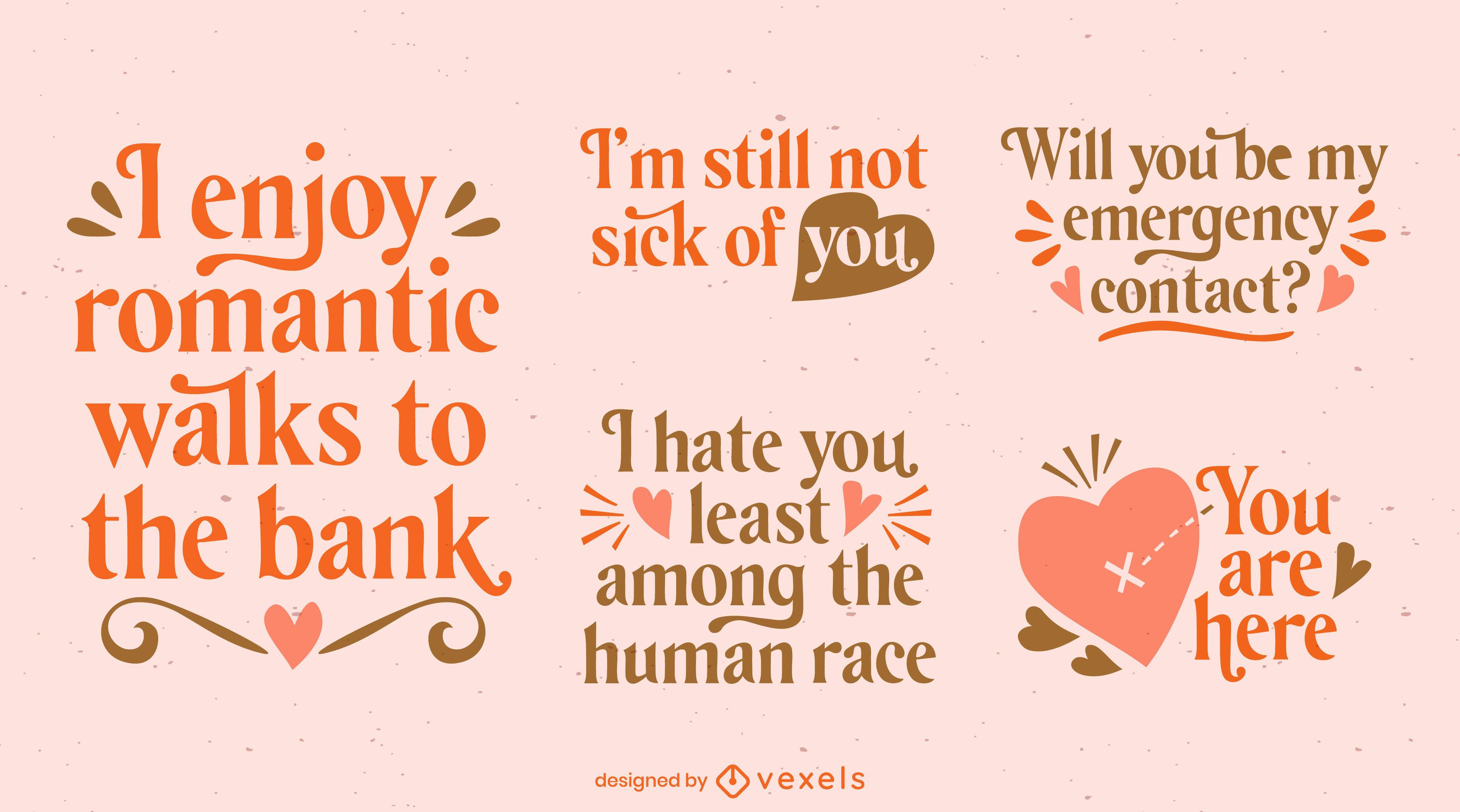 Conjunto de letras de amor para o dia dos namorados
