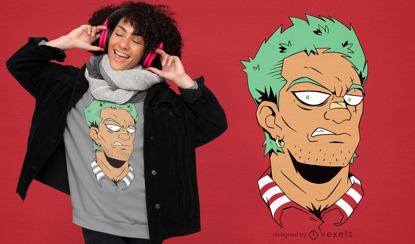 Villain anime guy face t-shirt design