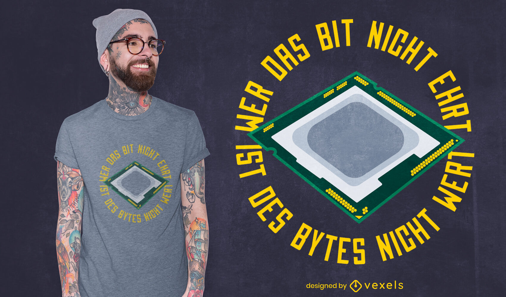 Design de camiseta com tecnologia de chip de computador
