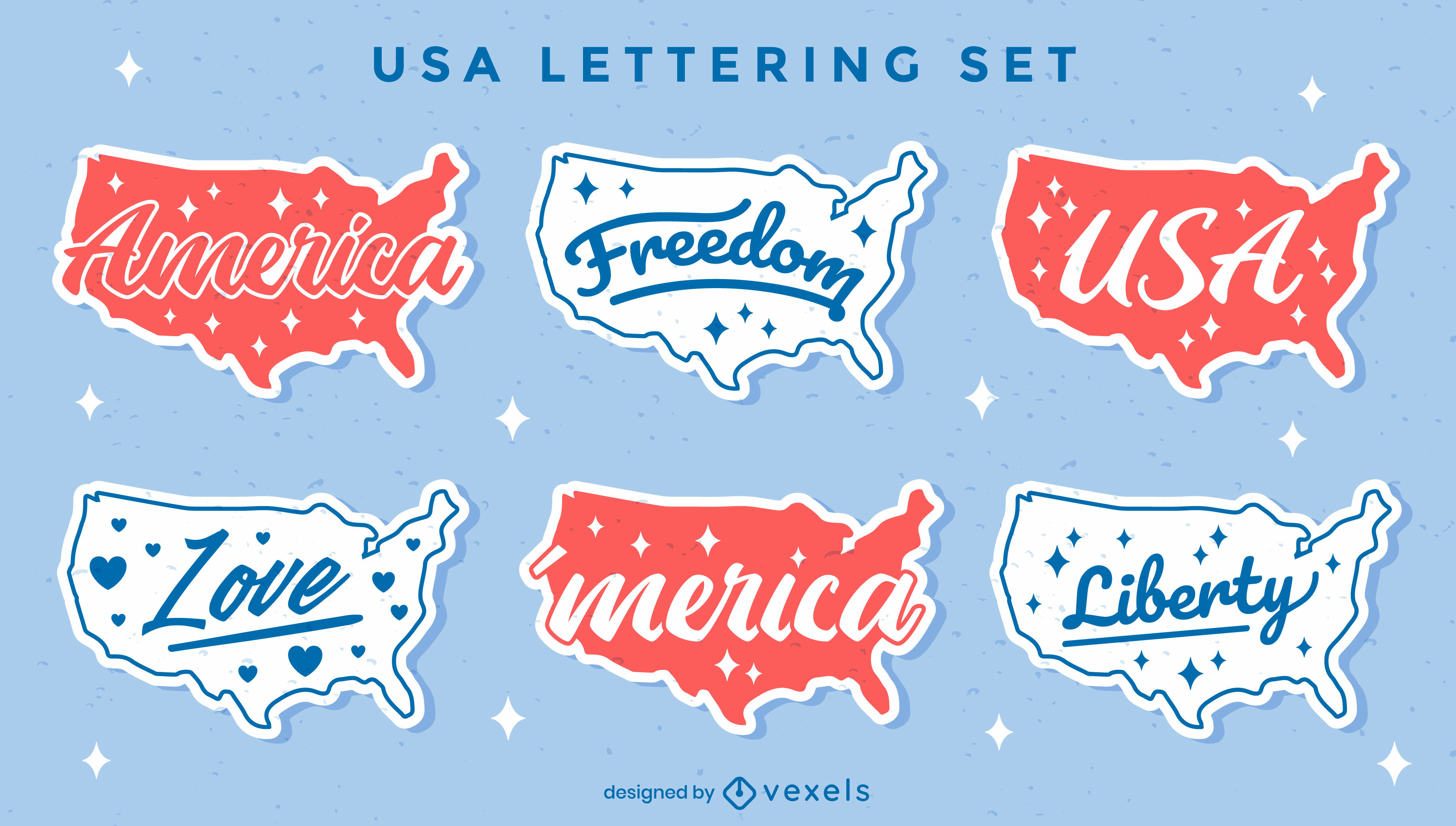 United states maps retro lettering set