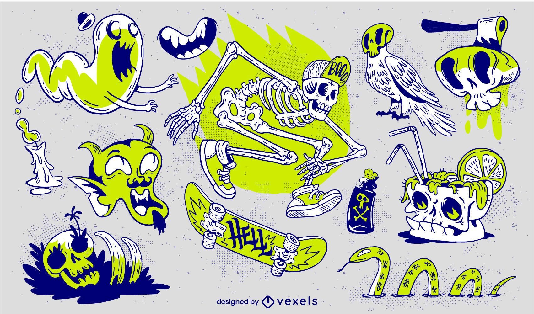 Conjunto de férias de halloween de monstros trippy