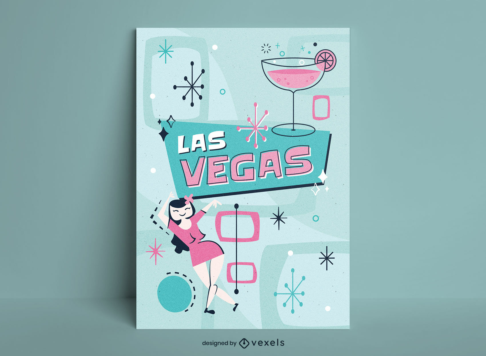 Diseño de cartel retro de la fiesta de las vegas