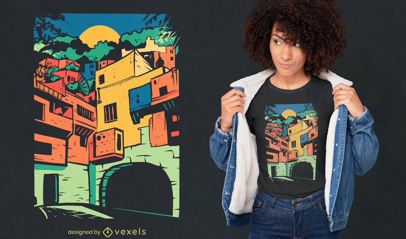 Dise?o de camiseta colorida ciudad mexicana